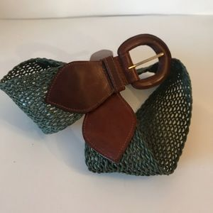 """Accessories - Leather and Coated Twine 3"""" Wide Belt"""